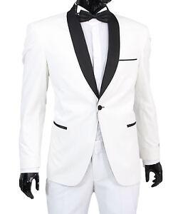 Slim Fit Herren Smoking In Weiss Anzug Hochzeit Buhne Sakko Ebay