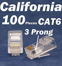 100 X Pcs 3 Prong Teeth RJ45 8P8C Network Cable Modular Plug CAT6 Connector LAN