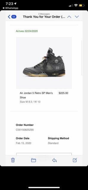 OFF-WHITE X Air Jordan 5 Retro SP 'Muslin' 8.5 *BRAND NEW* AUTHENTIC