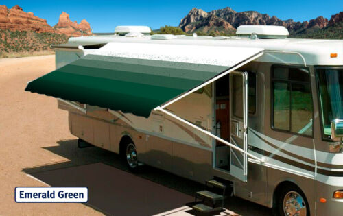 """10/' Emerald Green w//Wht W//G Fabric:9/'2/"""" RV Awning Replacement fabric canopy"""
