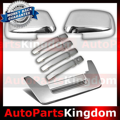 Chrome Mirror+4 Door Handle W//O PSG KH+Tailgate Cover for 04-12 Nissan Frontier