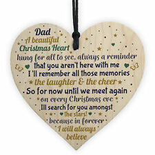 Christmas Heart Decoration.Christmas Tree Decoration In Memory Of Dad Memorial Wooden Heart Bauble Gift