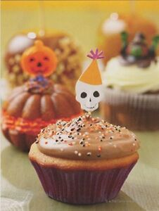 Halloween-034-The-Skeleton-Head-Decoration-Halloween-Cupcake-034-Postcard-V-24