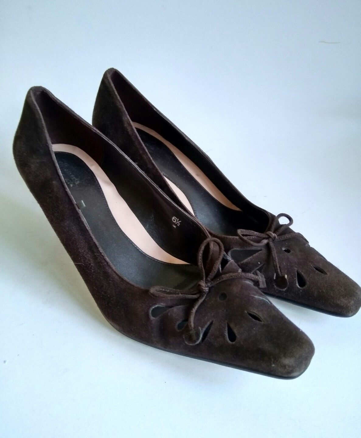 MARKS & SPENCER INSOLIA WOMENS BROWN SUEDE COURT HEELS SHOES SIZE UK 6.5 EUR 40