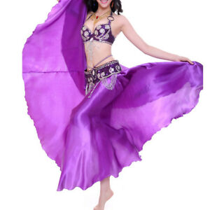 Belly-Dance-beginer-Nouveau-Satin-Long-Jupe-Swing-Belly-Dance-Costumes-Taille-Plus