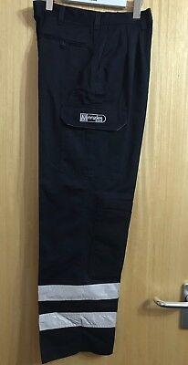 Workman Pantaloni Invasioni Hi Viz Heavy Duty Pantaloni Ginocchio Pad Tasche Lavoro Cotone-