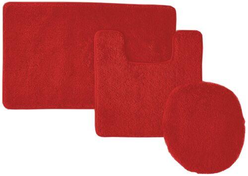 Red NEW 3-Piece Solid Bathroom Set Bath Mat Contour Rug Toilet Lid Cover