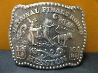 1985 Vintage Hesston National Finals Rodeo Belt Buckle Free Shipping