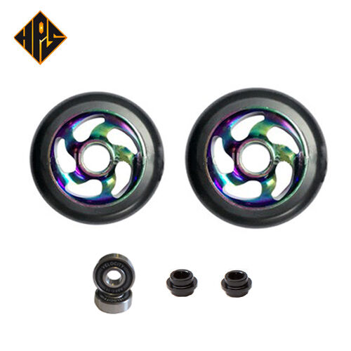 2X PRO STUNT SCOOTER LIGHTNING NEO CHROME METAL CORE WHEELS 100mm ABEC 9 BEARING