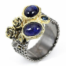 Natural Blue Sapphire 925 Sterling Silver Handmade Fine Art Ring Size 7.5