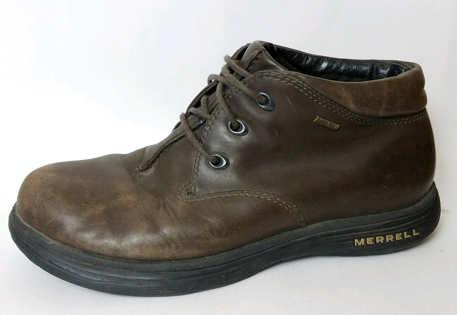 Merrell Topo Storm Mens 8 M Brown Ankle Work Hiking Trail Boots Gore Tex Leather