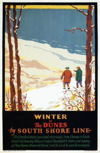 Winter in Dunes vintage South Shore Line poster repro 16x24