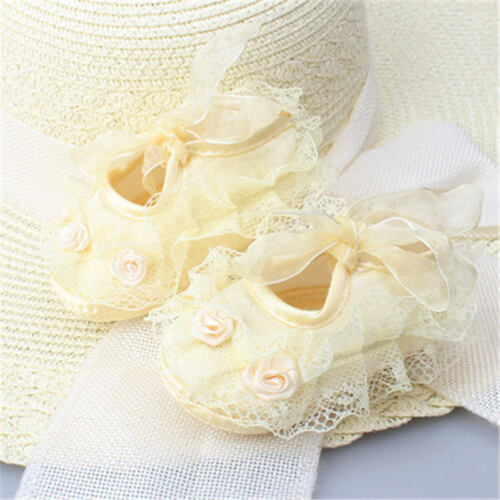 1pairs Infant Newborn Baby Girl Princess Non-Slip Lace Flower Shoes Baby Shoes