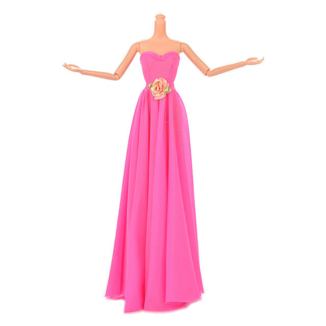 1 Pcs Rose Doll Dress with Flowers Evening Gown Manual Wedding Dress sa