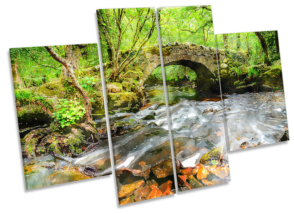 Grün Forest Bridge River CANVAS WALL ARTWORK Four Panel Art