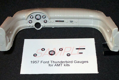 1957 FORD THUNDERBIRD GAUGE FACES for 1//25 scale AMT KITS