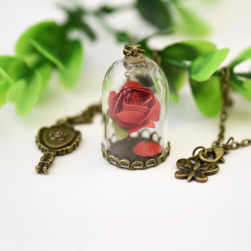 Fashion Handmade Hot Real Dried Flower Glass Bottle Chain Necklace Pendant