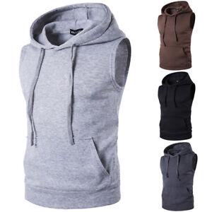 Men-039-s-Sleeveless-Hoodie-Sport-Sweatshirt-GYM-Casual-Hoody-Pullover-Vest-Sweater