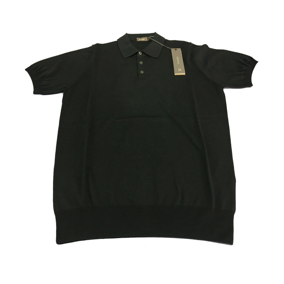 FERRANTE Mann-Kurzarm Polo schwarz Rand 100% Baumwolle 23601 made in italy