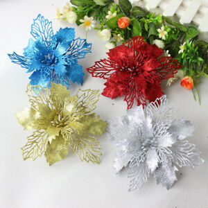 Details about 10Pcs Glitter Hollow Wedding Party Decor Christmas Flowers  Xmas Tree Decorations