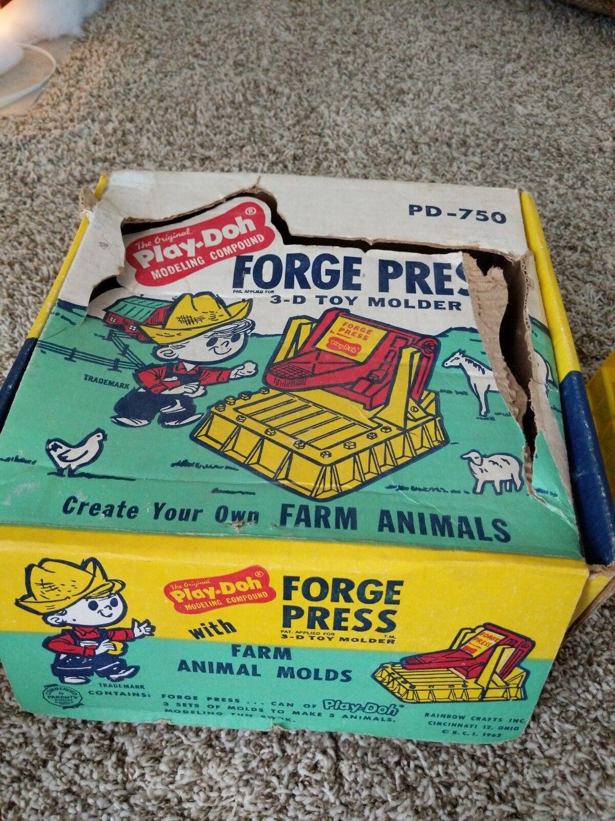 promocionales de incentivo Vintage 1962 Jugar-doh Forge prensa con Animales de Granja Moldes Moldes Moldes Caja de exhibición de la tienda  barato en línea