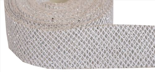 environ 0.91 m Indian Woven Sparkle Bridal Dress Border 1 Yd Trim Ribbon White Collection Hed