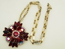 Vintage Deep Ruby Red & Aurora Borealis Rhinestone Pendant Necklace/Brooch