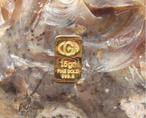 15 GRAIN 24K PURE 999.9 FINE CGA GOLD BULLION MINTED LIMITED BAR