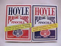 2 Decks Hoyle Standard Pinochle Playing Cards Red & Blue Brand Decks