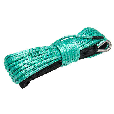 "New 1//4/"" x 50/' Synthetic Winch Rope Line Cable 8200 LB Capacity ATV W//Sheath GRN"