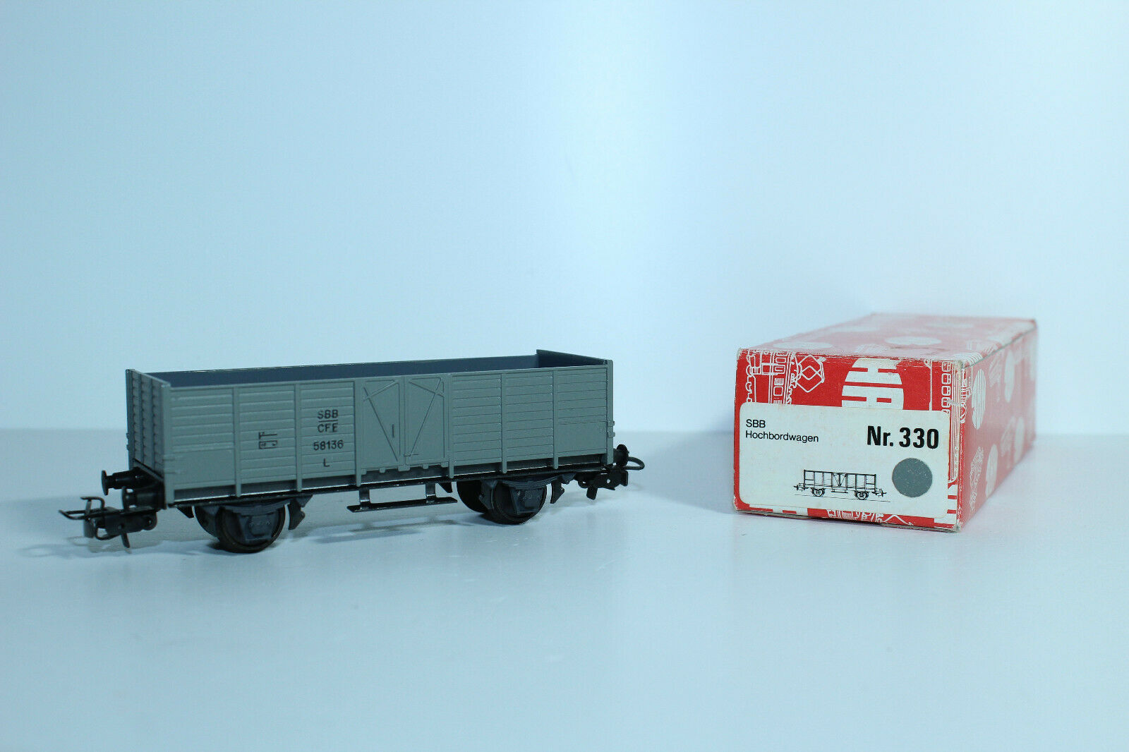 HAG 330 Hochbordwagen der SBB, grigio, ohne Plattform  mit OVP  N