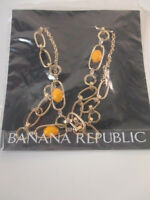 Banana Republic Gold Link Cabochon Crystal Layering Necklace $35 Ylw Lot 10
