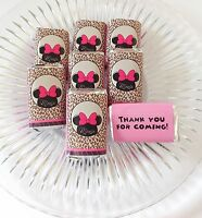 50 Minnie Mouse Personalized Mini Candy Bar Wrappers Party Favors