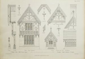 1868-Architektonisch-Aufdruck-Huette-Orne-Muehle-Gruen-Essex-Details-Finial-Veranda