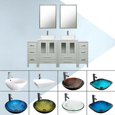 W Mirror Small Cabinet Faucet Combo, Bathroom Vanity Vessel Sink Combo