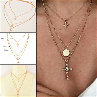 Boho Multilayer Gold Plated Chain Drop Jesus Cross Pendant Choker Necklace