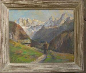 P-SCHNEIDERS-1949-SENNERIN-ALPEN-HUTTE-OLGEMALDE-LANDSCHAFT-OLGEMALDE-SIGNIERT