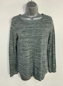 WOMENS-MARKS-amp-SPENCER-SIZE-UK-8-GREY-MARL-LONG-SLEEVE-CREW-NECK-CASUAL-T-SHIRT