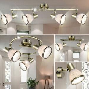 LED Decken Wand Leuchte Wohn Zimmer Beleuchtung Altmessing Lampe Spots drehbar