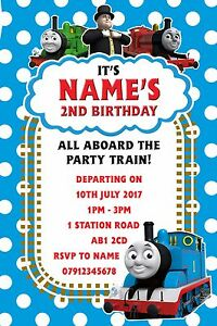 Image Is Loading Personalised Thomas Tank Engine Party Invitations And Envelopes