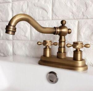 Antique Brass 4 Centerset Bathroom Two Holes Basin Faucet Sink