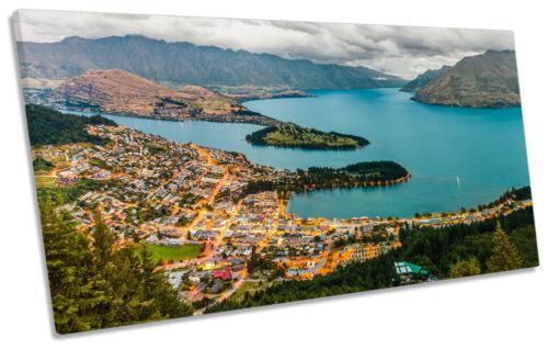 Lake Wakatipu New Zealand Framed PANORAMIC CANVAS PRINT Wall Art