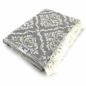 Plaid-Tagesdecke-BAROCK-grau-Couchdecke-Sofa-Decke-150-x-200-cm-100-Cotton
