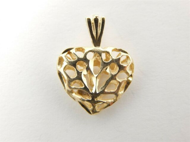 Pretty 14k Yellow Gold Diamond Cut 3 D Puffy Heart Pendant Michael Anthony