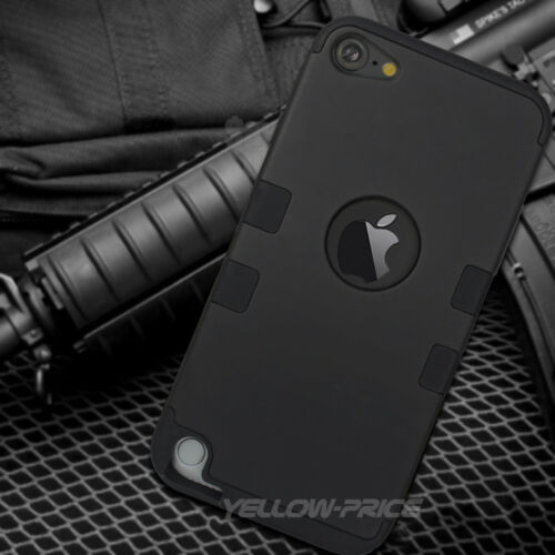HYBRID HIGH IMPACT RUGGED ARMOR SKIN CASE BLACK For iPod Touch 5th /& 6th Gen