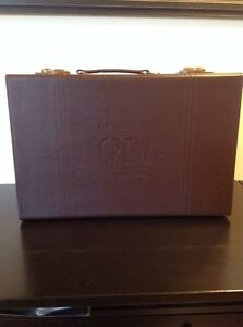 Vtg American Crew Brown Faux Leather Suitcase Briefcase Travel ...