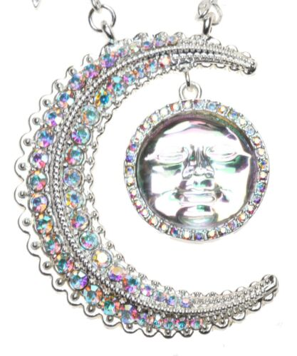 Kirks Folly To the Moon and Back Seaview Water Moon Necklace silvertone
