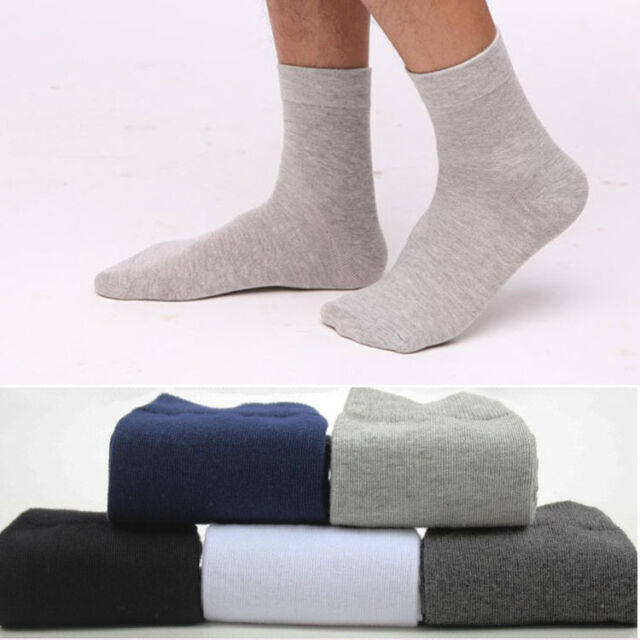 5//10 Pairs Men/'s Business Casual Style Solid Crew Quarter Dress Cotton Socks