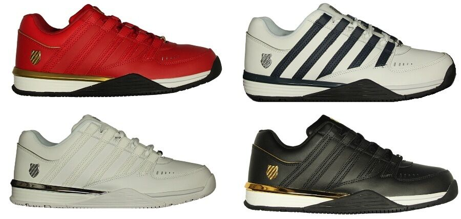 MENS BRAND NEW K.SWISS LACE UP LEATHER TRAINERS IN BLACK RED WHITE COLOURS 6-12