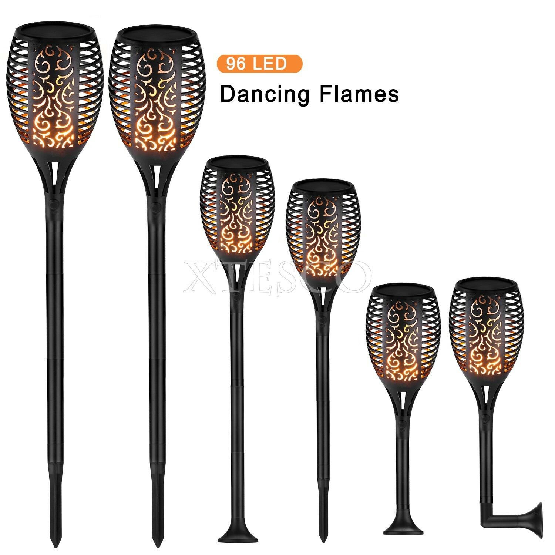 Solar Garden patio 96 LED Light Dancing Flickering Fire Flame Landscape lamp